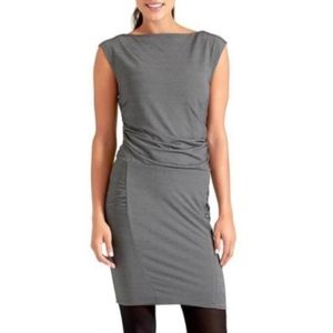 Athleta Micro Stripe Westwood Fitted Ruched Dress